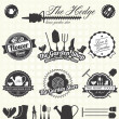 Vector Set: Retro Gardening Labels and Icons — Vector de stock