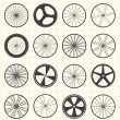 Vector Set: Bike Wheel Silhouettes — Stok Vektör