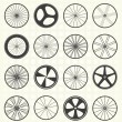 Stock Vector: Vector Set: Bike Wheel Silhouettes