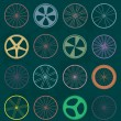 Vector Set: Retro Style Bike Wheel Silhouettes — Vettoriali Stock