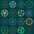 Vector Set: Retro Style Bike Wheel Silhouettes — Stock Vector