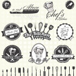 Vector Set: Retro Master Chef Labels and Icons — Vettoriale Stock