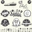 Vector Set: Retro Master Chef Labels and Icons — Wektor stockowy
