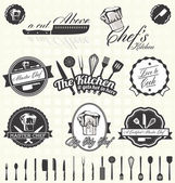 Vector set: etichette retrò master chef e icone — Vettoriale Stock