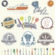 Vector Set: Retro Cooking and Chef Labels — Stock Vector
