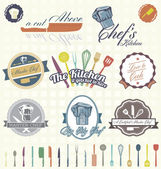 Vector Set: Retro Cooking and Chef Labels — Stok Vektör