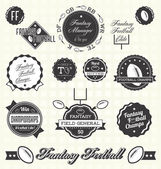Vector Set: Retro Fantasy Football League Champion Labels — Stock Vector