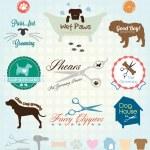 Vector Set: Pet Grooming Labels — Stock Vector