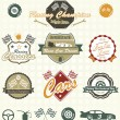 Stock Vector: Vector Set: Retro Car Racing Labels and Icons