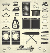 Vector Set: Laundry Room Labels and Icons — Stock Vector