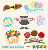 Vector Set: Carnival Labels and Icons — Stock Vector