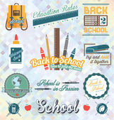 Vector Set: Back to School Labels and Icons — Stock Vector