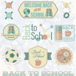 Vector Set: Retro Style Back to School Labels and Symbols — Stock Vector