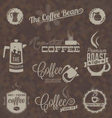 Vector Set: Retro Coffee Shop Labels and Symbols — Stock Vector