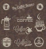 Vector Set: Retro Coffee Shop Labels and Symbols — Stock Vector