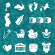 Vector Set: Newborn Baby Icons and Symbols — Stock Vector