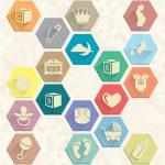 Vector Set: Baby Icons in Hexagons — Stock Vector