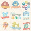 Vector Set: Baby Shower Invitation Labels and Icons — Stock Vector