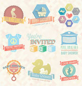 Vector Set: Baby Shower Invitation Labels and Icons — Stockvector