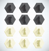 Vector Set: Chess Piece Dimensional Icons — Stock Vector