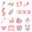 Vector Set: Quilt Pattern Baby Icons — Stock Vector