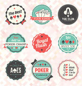 Vector Set: Retro Poker Labels and Icons — Stock Vector