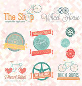 Vector Set: Retro Bike Shop Labels and Icons — Stock Vector