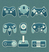 Vector Set: Retro Video Game Remote Controls — Stock Vector