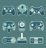 Vector Set: Retro Video Game Remote Controls — Stock Vector