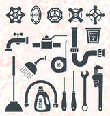 Vector Set: Plumbing Service Objects and Tools — Stock Vector