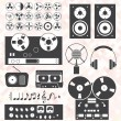 Vector Set: Retro Style Music Recording Equipment — Stock Vector #39584943