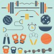 Vector Set: Weight Lifting and Workout Icons and Symbols — Stock Vector