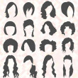 Vector Set: Woman's Hair Style Silhouettes — Stock Vector