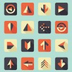 Vector Set: Flat Arrow Icons With Shadows — Stock Vector