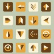 Vector Set: Flat Arrow Icons With Shadows — Stock Vector