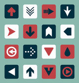 Vector Set: Flat Arrow Icons With Shadows — Stok Vektör