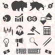 Vector Set: Stock Market Icons and Symbols — Stock Vector