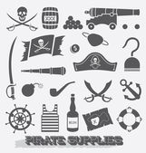 Vector Set: Pirate Supplies Icons and Symbols — Stock Vector