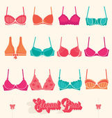 Vector Set: Retro Bras and Bustiers — Stock Vector