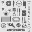 Vector Set: Automotive Parts and Icons — Stock Vector