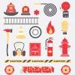 Vector Set: Firefighter Flat Icons and Symbols — Stock Vector #42249451