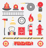 Vector Set: Firefighter Flat Icons and Symbols — Stock Vector