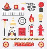 Iconos y símbolos planas bomberos: conjunto de vectores — Vector de stock
