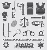 Vector Set: Police Officer and Detective Icons — Stock Vector