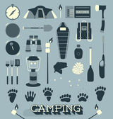 Vector Set: Camping and Outdoors Icons and Symbols — Stock Vector