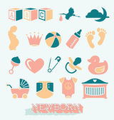 Vector Set: Newborn and Baby Icons and Symbols — Stock Vector