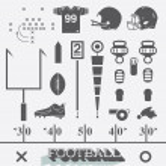 Vector Set: Football Equipment Icons and Symbols — Stock Vector #42758915