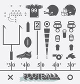 Vector Set: Football Equipment Icons and Symbols — Stock Vector