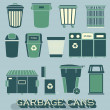 Vector Set: Garbage and Recycling Cans — Stockvector