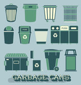 Vector Set: Garbage and Recycling Cans — Stock Vector